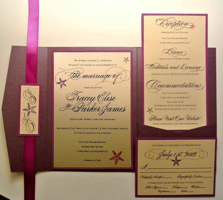 starfish wedding invitation kits%0A Starfish Beach Inspired Pocketfold Wedding Invitation         via Etsy