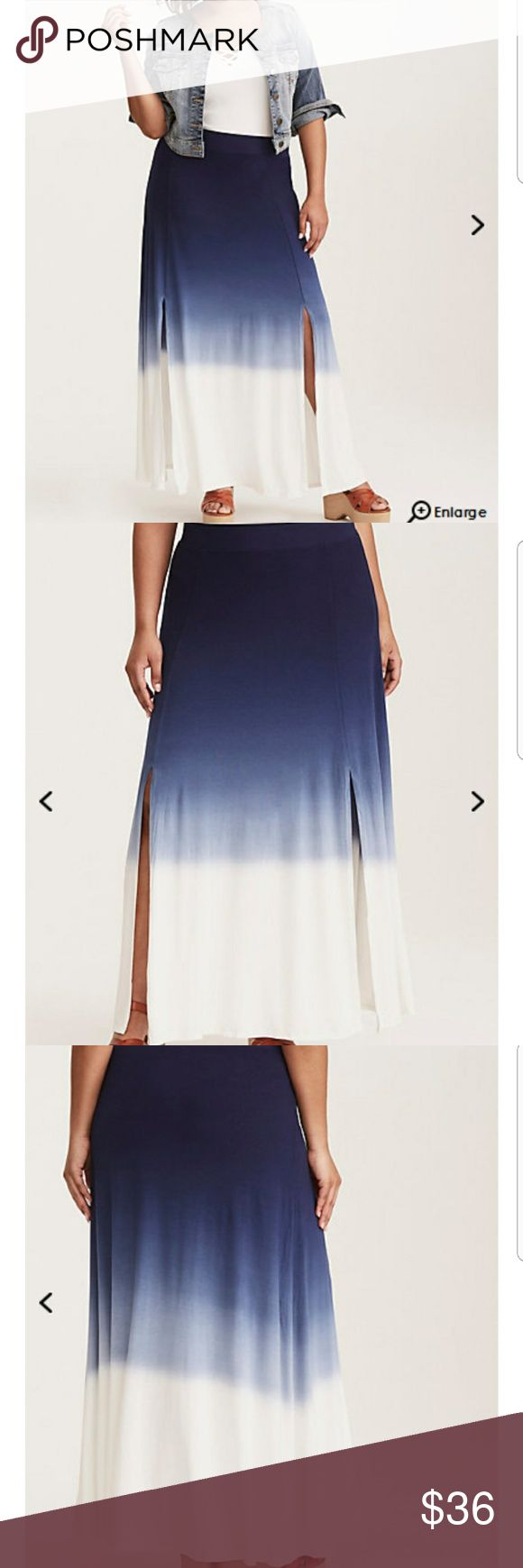 "Dip Dye Slit Jersey Maxi Skirt Book that flight; this maxi skirt is demanding a vacation (you should always listen to your skirts). The whisper-light jersey knit is relaxed already, but the navy-to-white dip dye effect is basically the definition of ""and chill."" A tummy-smoothing waistband flatters, with side slits that let your legs say hi to the sunshine. torrid Skirts Maxi"