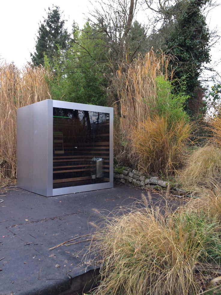 Stainless steel look outdoor sauna