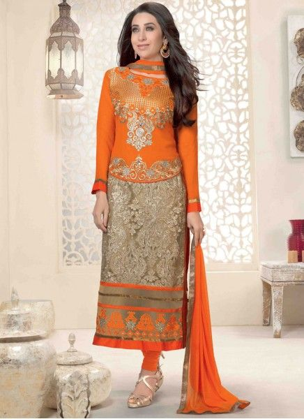 Colour: Orange Collection : Karishma Kapoor, KSD106 Top Fabric : Georgette Bottom Fabric : Heavy Santoon Innar Fabric : Heavy Santoon Dupatta Fabric : Nazneen Top Length : 3.5 mtr Inner Length : 4.5 mtr Bottom Length : (4.5 mtr Dupatt Length : 2.25 mtr Work : Embroidered Style : Salwar Suits Season : Any Weight : 1 Kg Occasion : Party, Wedding, Festival Fulfillment Type : Ready To Ship Wash Care : Recommends Dry Wash Only