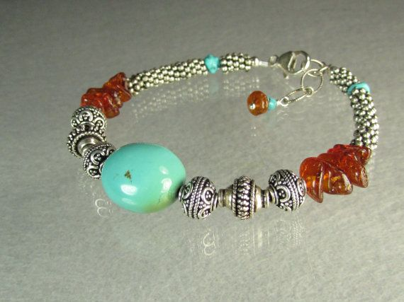 Blue Turquoise with cognac Baltic Amber and Bali by vnvdesign