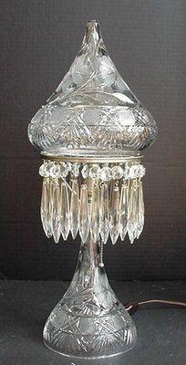 Old Antique Vintage American Brilliant Cut Glass Art Nouveau Art Deco Lamp   eBay