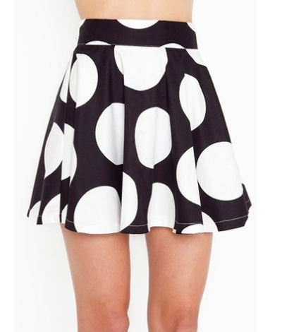 + white tee and colorful tights {Shopping Guide: 7 Skater Skirts For Spring Polka Dot Skater Skirt – The Frisky} #thefrisky.com