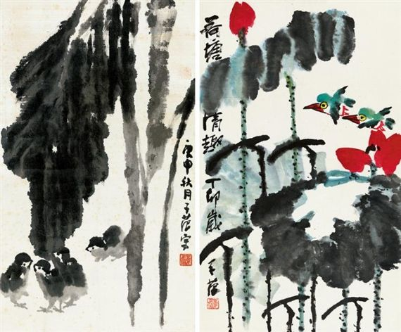 Cui Zifan - BASHO WITH CHICKENS, LOTUS IN POND,...