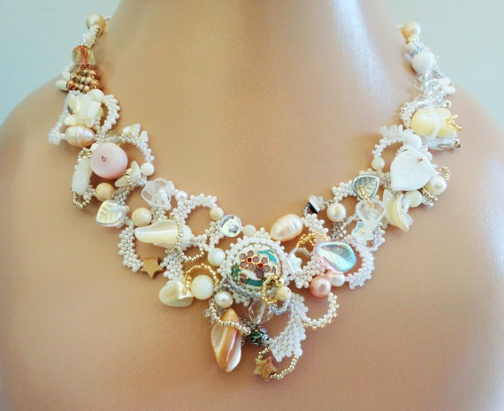 Freeform Peyote Necklace White Wedding Trilogy