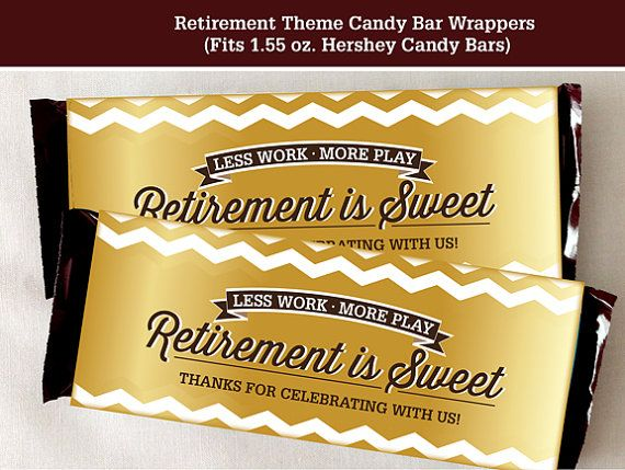retirement candy bar wrapper printable digital file fits 1 55 oz