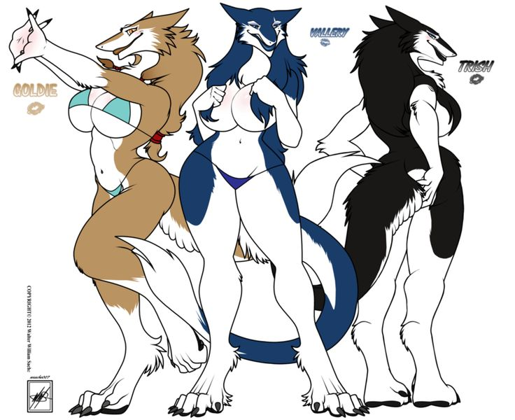 Anthropomorphic Porn - Vallery, Trish, and Goldie_Sergal sisters by wsache007