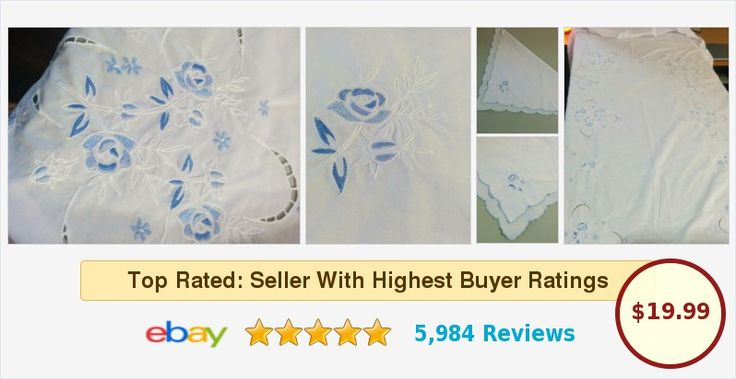 FREE SHIPPING! Pure White Oval Tablecloth Cutout Lace Blue Embroidered Roses 5 Matching Napkins | eBay