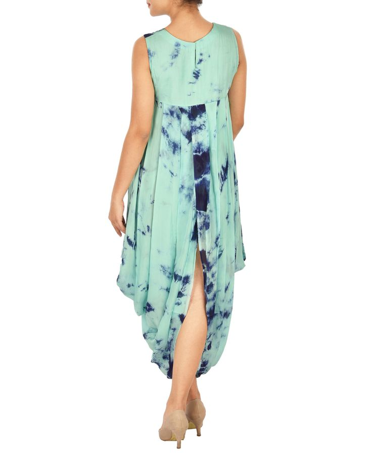 Dark and light blue tie dye crepe cowl dress
