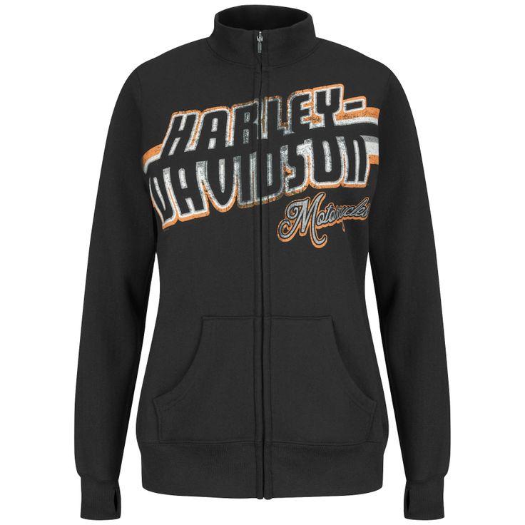 5J19-H47C - Harley-Davidson® Womens Turbulent Ride Mock Neck Fleece Black Long Sleeve Full Zip - Barnett Harley-Davidson®