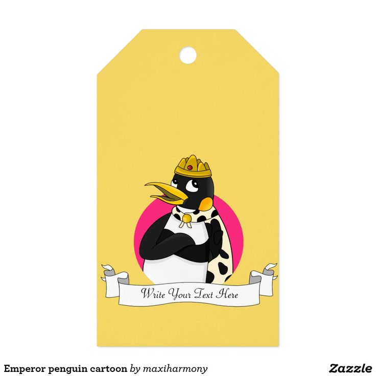 Emperor penguin cartoon pack of gift tags
