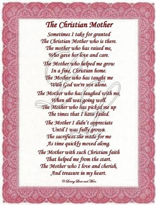Christian Mothers Day Poems | Christian Mother poem is for the sweet Christian mother. Poem may be ...: