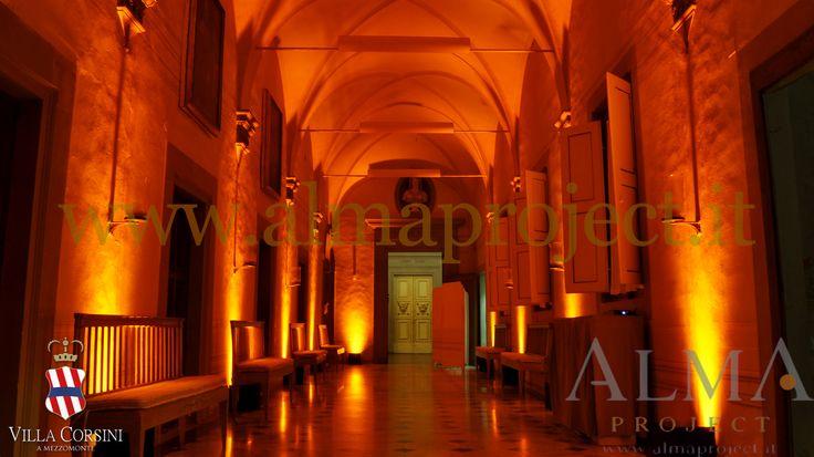 ALMA PROJECT @ Villa Corsini - androne - amber uplights