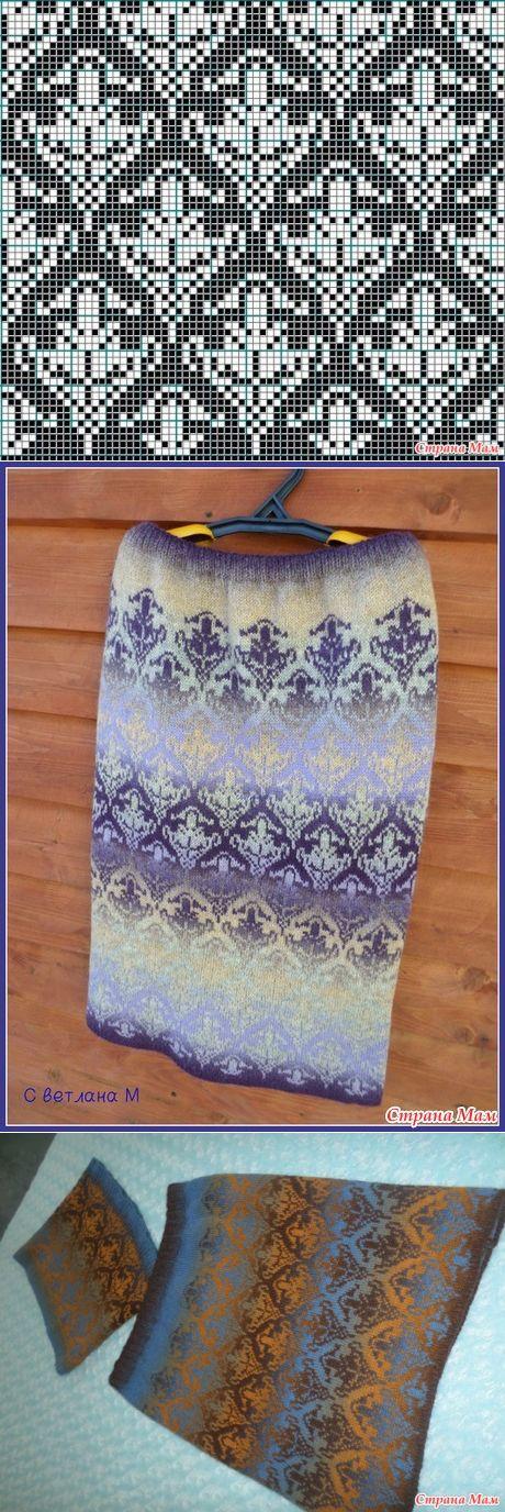 Две жаккардовые юбочки по одной схеме))) - Вязание - Страна Мам