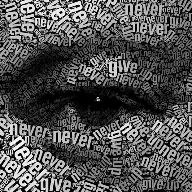 "Juan Osborne's text portrait made of the phrase ""Never, never, never, never give up"" - a quote from a speech Churchill made on October 29, 1941 at Harrow School"