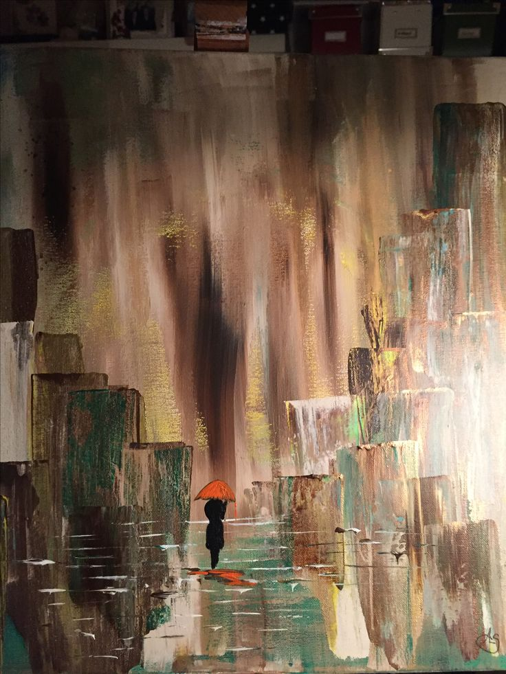Walk in the rain ..akryl painting by me