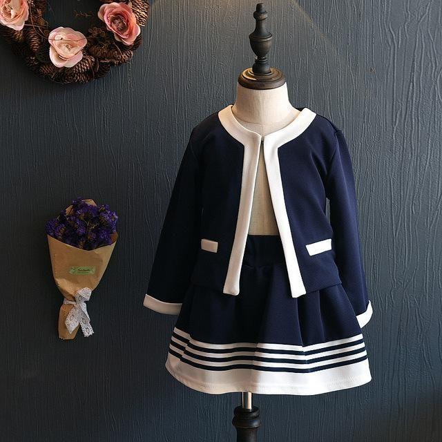 Kids Clothes <b>Girls Clothing</b> Set Navy Blue Short Jacket and Skirts ...