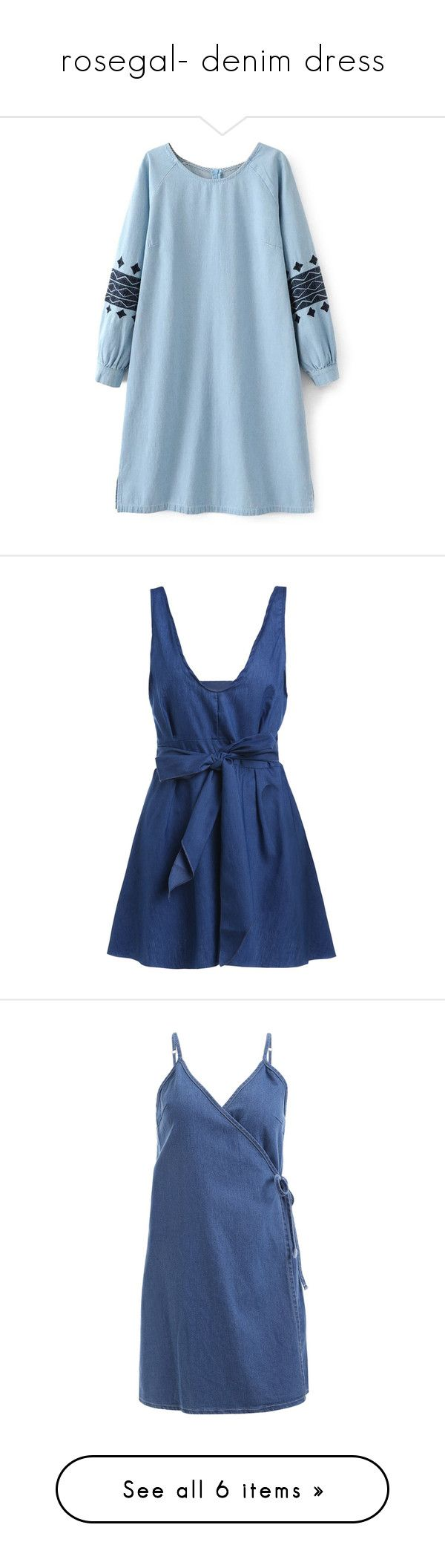 """""""rosegal- denim dress"""" by fshionme ❤ liked on Polyvore featuring dresses, rosegal, blue dress, embroidery dresses, blue sleeve dress, blue embroidered dress, long-sleeve denim dresses, sexy halter dress, halter neck cocktail dress and blue cocktail dresses"""