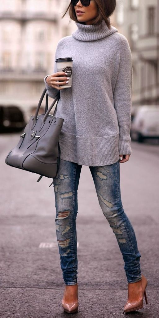 #street #style / gray knit + ripped denim
