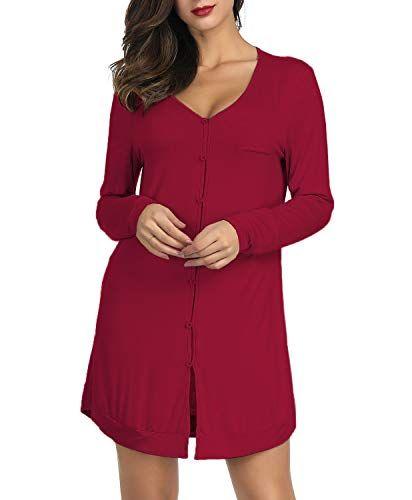 4f62fcb99789 Luxury Pajamas Slim Bamboo Nightshirts Irregular Hem Wine Red Size M ...