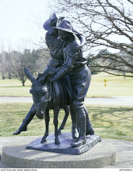 """Simpson and his donkey, 1915 by Peter Corlett, Australian War Memorial. John """"Jack"""" Simpson Kirkpatrick (1892 – 19 May 1915), served under the name John Simpson, was a stretcher bearer with the ANZACs during the Gallipoli Campaign in World War I. After landing at Anzac Cove on 25 April 1915, he obtained a donkey and began carrying wounded British Empire soldiers from the frontline to the beach, for evacuation. He continued this work for 3 and a half weeks, often under fire, until he was…"""