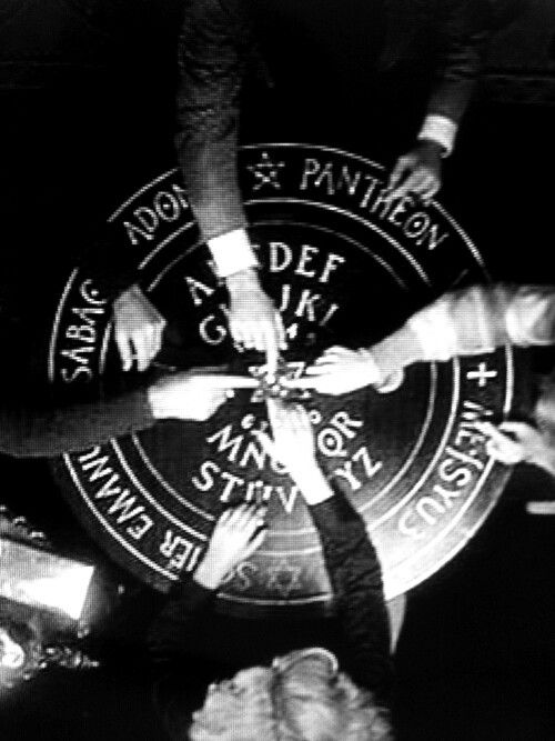 """Ouija. Usually the equivalent of """"spiritual unprotected sex with strangers,"""" the correct way of doing it involves protective measures, like the magick circle shown here."""