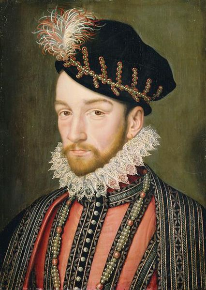 King Charles IX, circa 1572, by or after Clouet. Palace of Versailles.