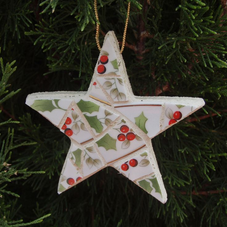 Mosaic Christmas Ornament Star. $7.95, via Etsy.