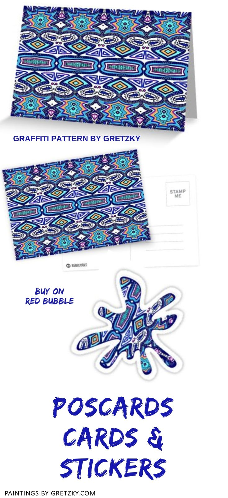 Graffiti Pattern Greeting Card By Gretzky Notebooks Cards And