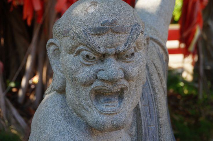 Scary? But it protects you from dangers! There are many stone statues of arhats…