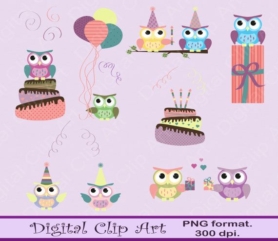 Owls Clipart Owls Clip Art  Instant Download by digitalcliparts