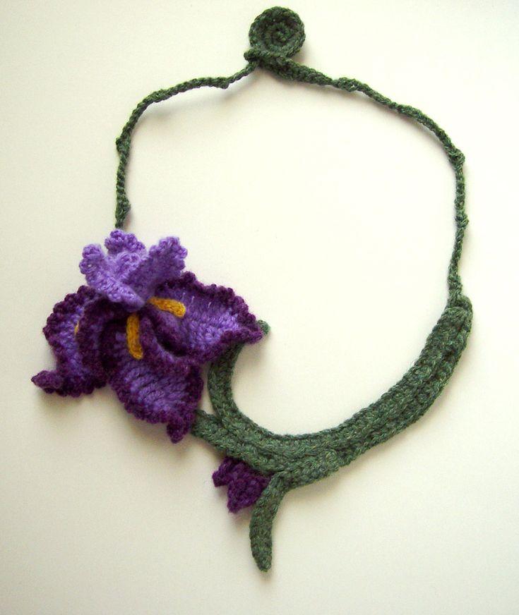 Crochet Purple Iris Necklace by meekssandygirl