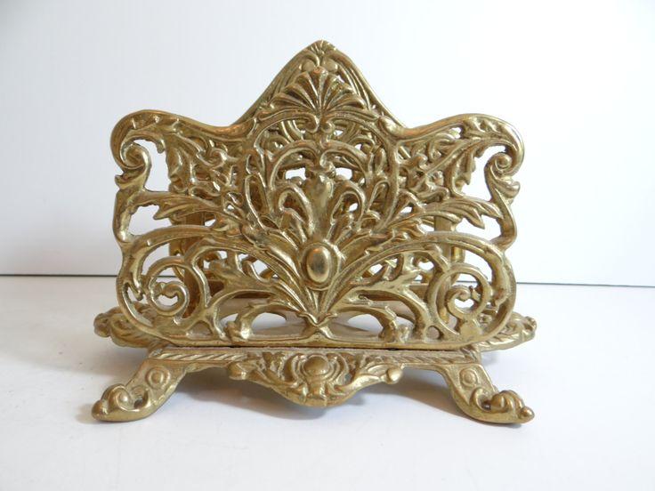 Victorian Art Nouveau Brass Letter Tray - Classic Shabby Chic Victorian Decor - Victorian Desk Accessory - Chic Desk Decor by SecondWindShop on Etsy