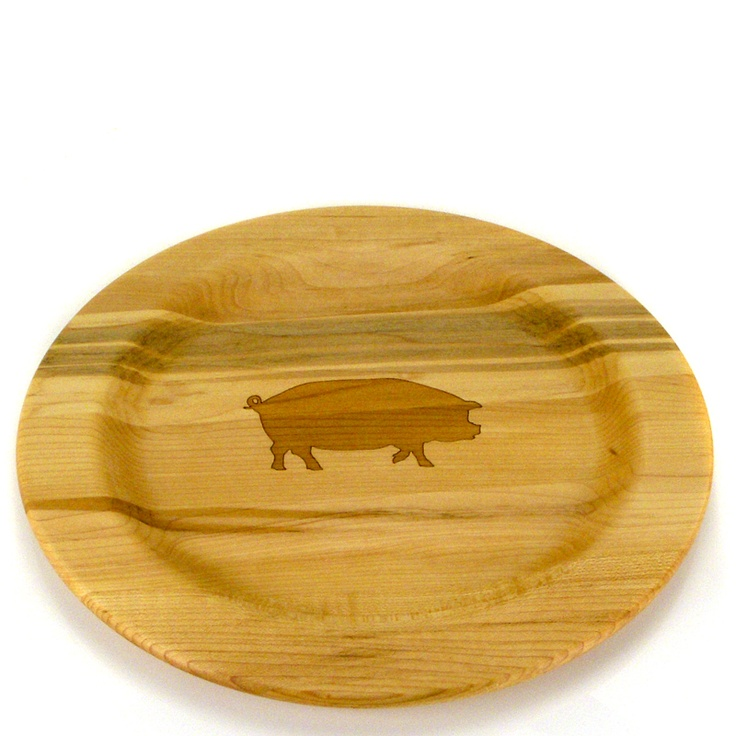 Wood 10 in. Farm Animal Plate with Pig