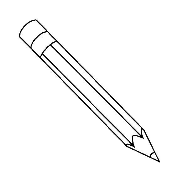 Pencils A Classic Pencil With The Eraser Coloring Page Qaf