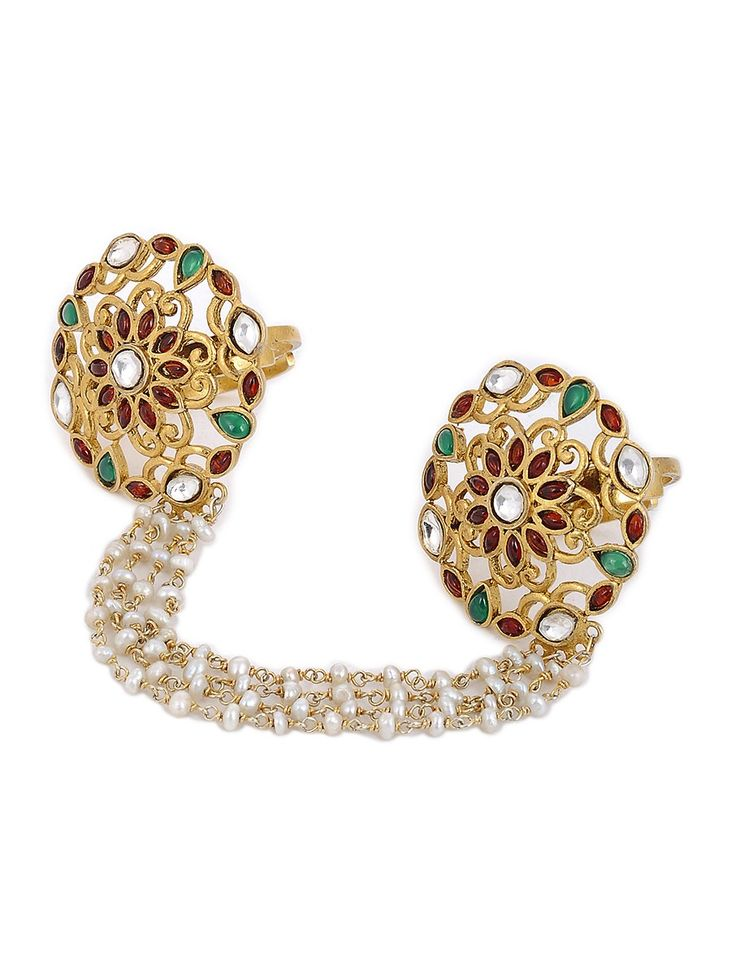 Buy Red Green White Golden Gold Tone Silver Adjustable Ring with Pearls Semi precious Stones Jewelry Rings Online at Jaypore.com