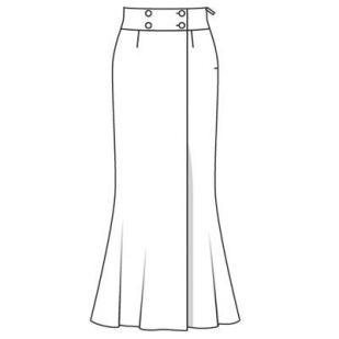 Юбка   Длинная юбка с широким поясом и эффектом запаха станет неожиданной альтернативой традиционному партнеру смокинга — брюкам. Узкая в бедрах и расклешенная снизу, она будет особенно хорошо смотреться на высоких женщинах.  Разм. 36—44