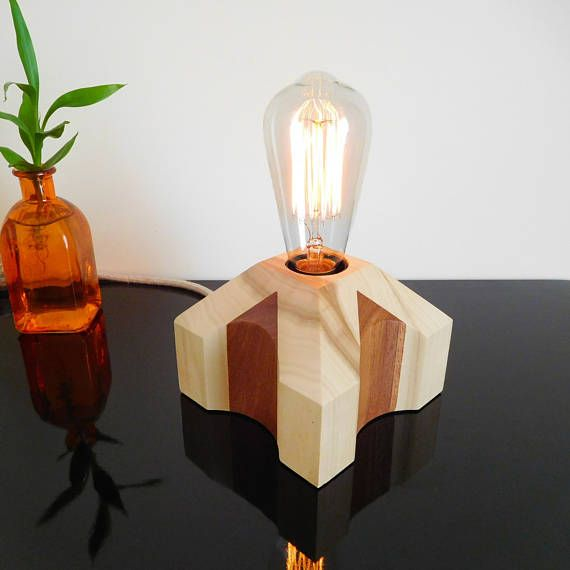 Bedside lamp deco with dimmable edison bulb, handcrafted desk lamp of dark wood and light wood, modern lamp base, wood decoration lamp gift