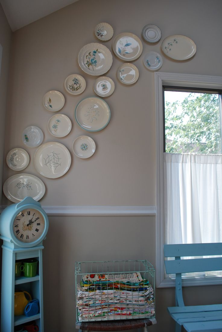 Vintage Plates With Aqua Against The New Wall Colors