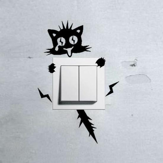 Noir commutateur autocollants stickers muraux choc électrique chat -1418 Fond d'écran  1.99€