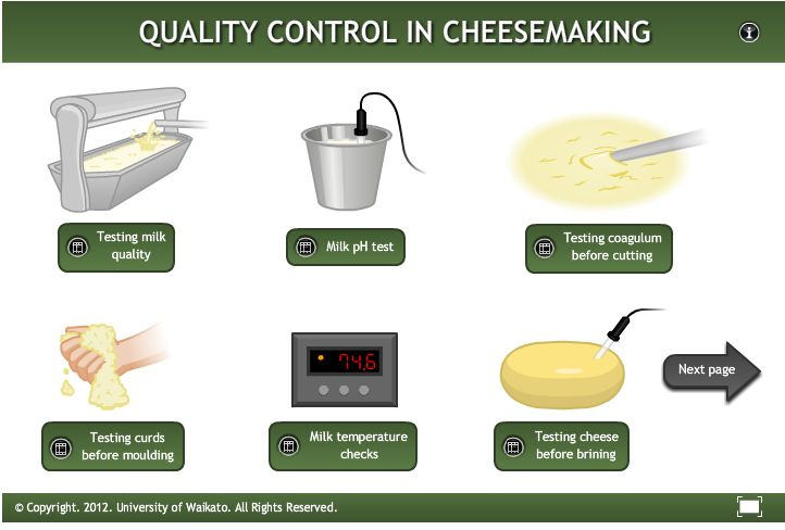 This interactive shows some processes for managing cheese quality in traditional Gouda cheese production.