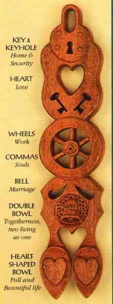 Welsh love spoon, a romantic tradition. when a young man wanted to court a young lady he would carve a spoon to show off his talent and to prove his love. Each symbol on a lovespoon has a different meaning.
