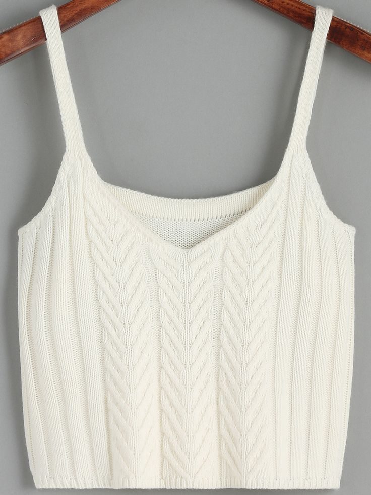 Top tricoté à bretelle -blanc-French SheIn(Sheinside)