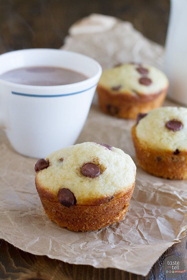 Start your morning off on a sweet note with these simple muffins, dotted with chocolate chips.  No one can turn down a good Chocolate Chip Muffin recipe!
