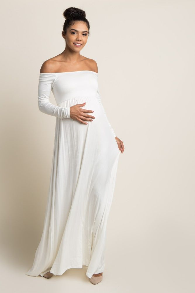 c9a51dade81 Ivory Solid Off Shoulder Maternity Maxi Dress