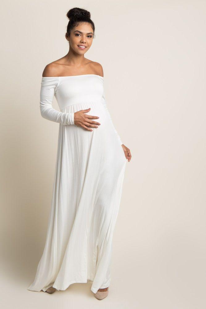 ab7652952e2 Ivory Solid Off Shoulder Maternity Maxi Dress