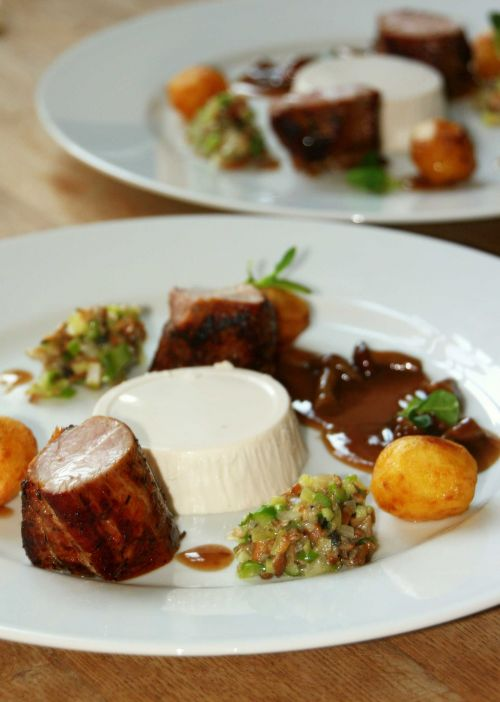Pork, beans and mushrooms ragu, mushroom pana cotta, brown sauce #dinner #main course @Cincsor.Transylvania.Guesthouses