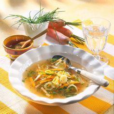 Klare Gemüsesuppe mit Suppengrün Rezept:   1 Bund   Suppengrün (ca. 500 g)   1   kleine Zwiebel   20 g   Butter oder Margarine   1 l   Gemüsebrühe (Instant)  1/2 Bund   Schnittlauch       Salz      Pfeffer