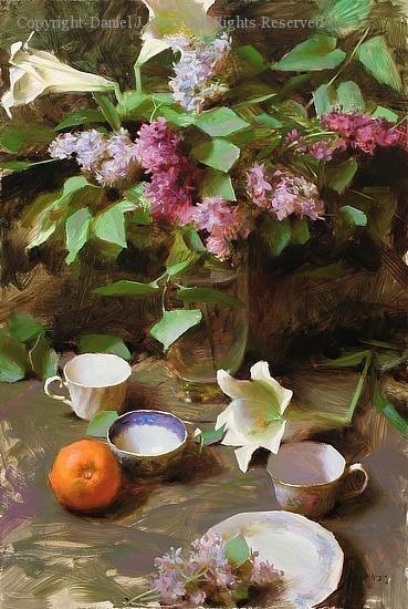 Lilacs, Lilies, and Teacups - Oil by Daniel J. Keys