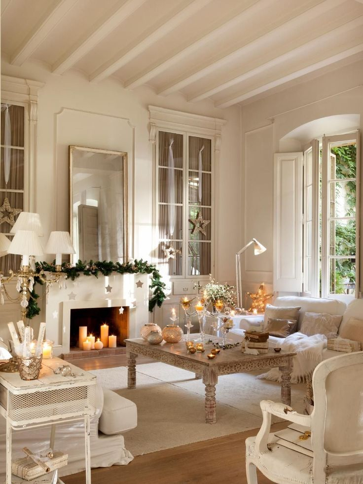 All white french country christmas living room decor idea for French country white